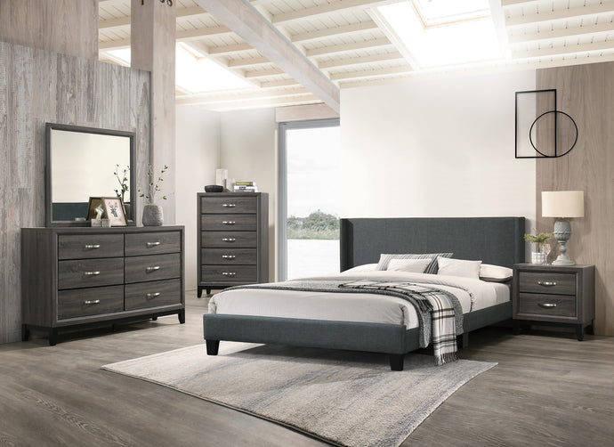 Poundex Charcoal Wood Finish 4 Piece Full Bedroom Set