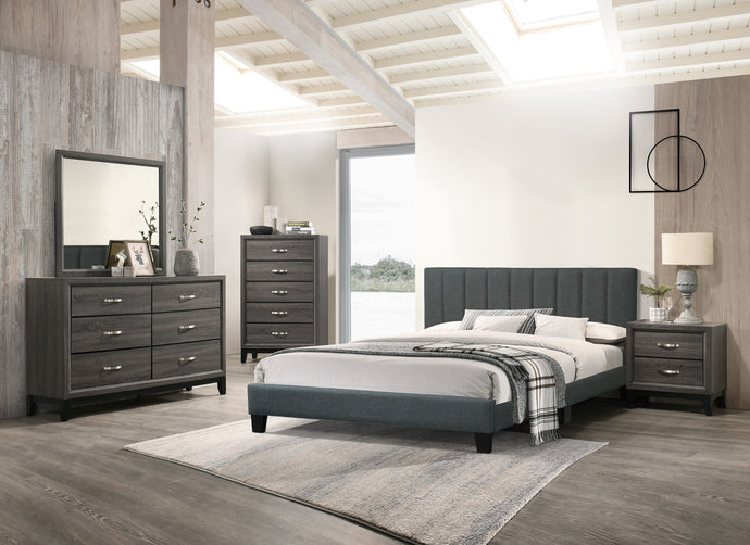 Poundex Charcoal Wood And Polyfiber Finish 4 Piece Full Bedroom Set