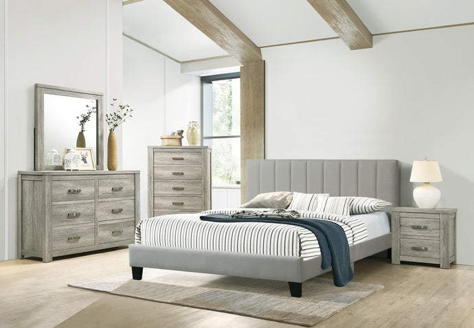 Poundex Gray Wood And Polyfiber Finish 4 Piece Full Bedroom Set