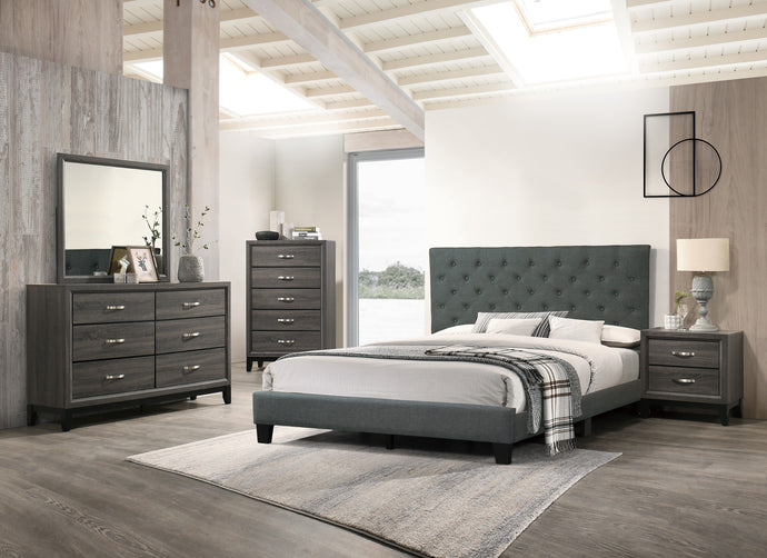 Poundex Charcoal Polyfiber Finish 4 Piece Full Bedroom Set