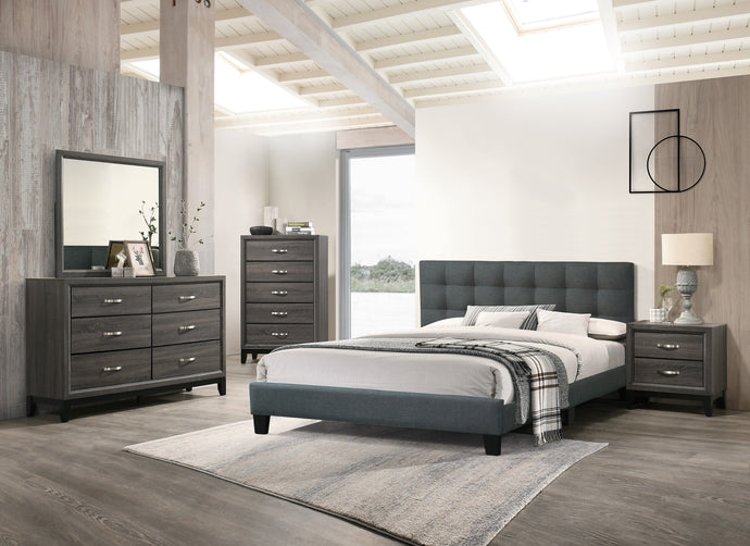 Poundex Charcoal Polyfiber And Wood Finish 4 Piece Full Bedroom Set