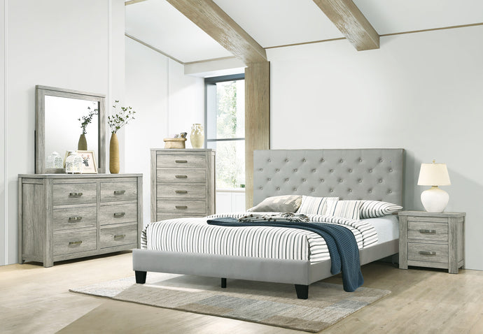 Poundex Gray Fabric And Wood Finish 4 Piece Full Bedroom Set