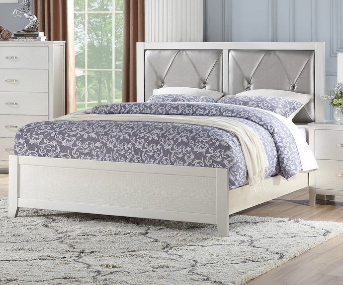 Poundex Silver Faux Leather And Wood Finish Queen Bed