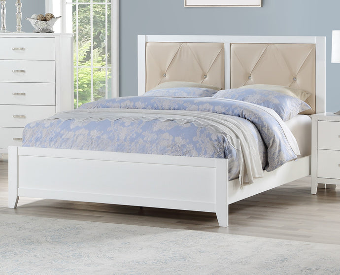 Poundex White Faux Leather And Wood Finish Queen Bed