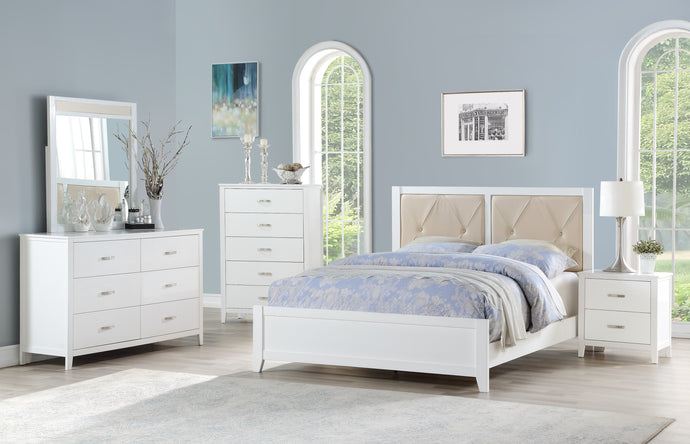 Poundex White Faux Leather And Wood Finish 4 Piece Eastern King Bedroom Set