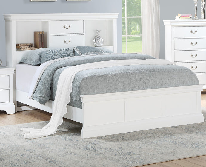 Poundex White Plywood Finish Queen Bed