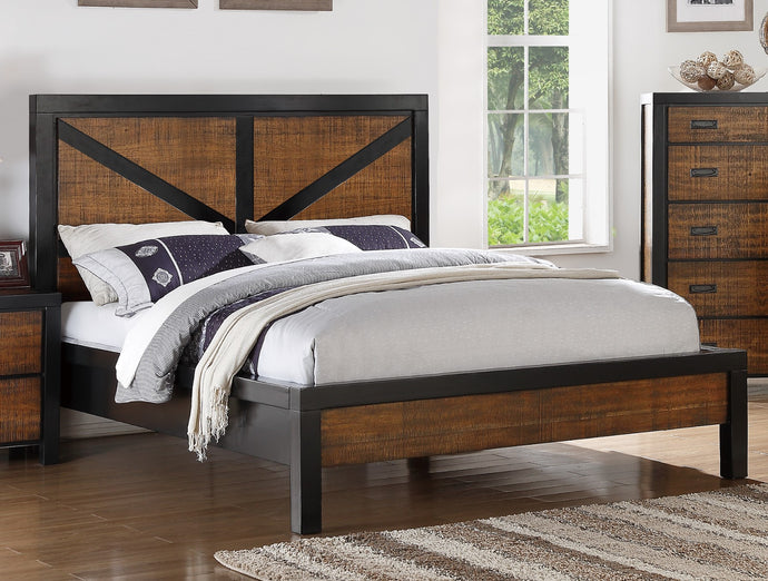 Poundex Brown Wood Finish Eastern King Bed