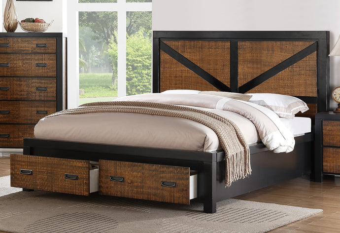 Poundex Brown Plywood Finish Queen Bed With Drawers