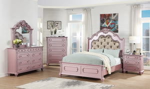 Poundex Pink Faux Leather Finish 4 Piece Eastern King Bedroom Set