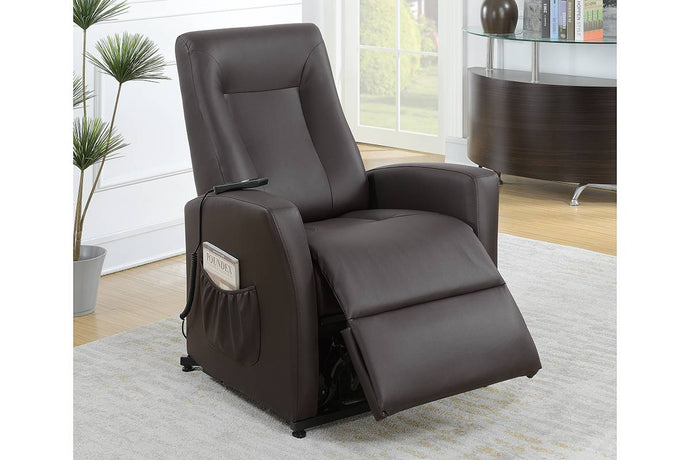 Poundex Espresso Bonded Leather Finish Recliner Sofa