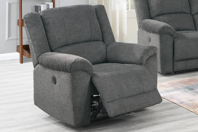 Poundex Gray Velvet Fabric Finish Recliner Chair
