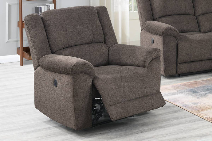 Poundex Tan Velvet Fabric Finish Recliner Chair