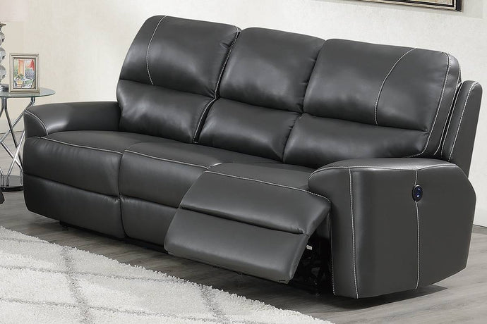 Poundex Gray Breathable Leatherette Finish Recliner Sofa