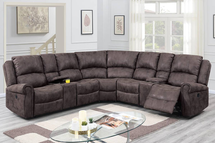 Poundex Dark Brown Leather Like Fabric Finish Recliner Sectional Sofa