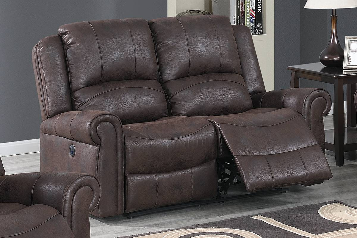 Poundex Dark Brown Leather Like Fabric Finish Recliner Loveseat