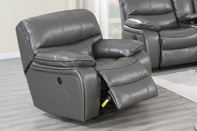 Poundex Dark Gray Gel Leatherette Finish Recliner Chair
