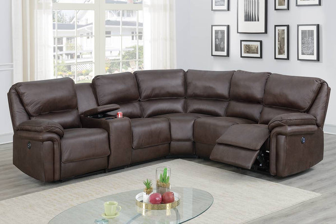 Poundex Dark Brown Breathable Leatherette Finish Recliner Sectional Sofa