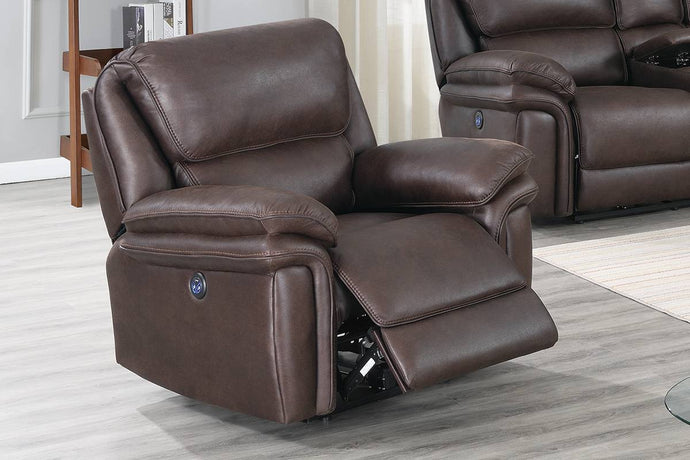 Poundex Dark Brown Breathable Leatherette Finish Recliner Chair