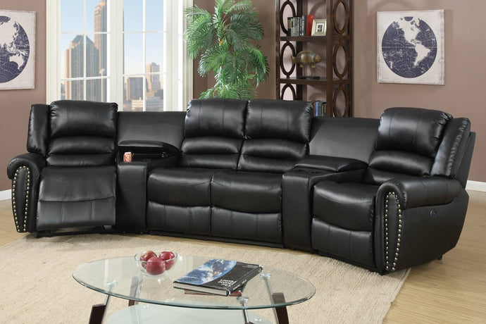 Poundex Black Bonded Leather Finish Recliner Sectional Sofa