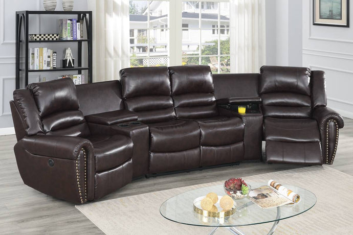 Poundex Brown Bonded Leather Finish Recliner Sectional Sofa