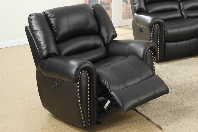 Poundex Black Bonded Leather Finish Recliner Chair