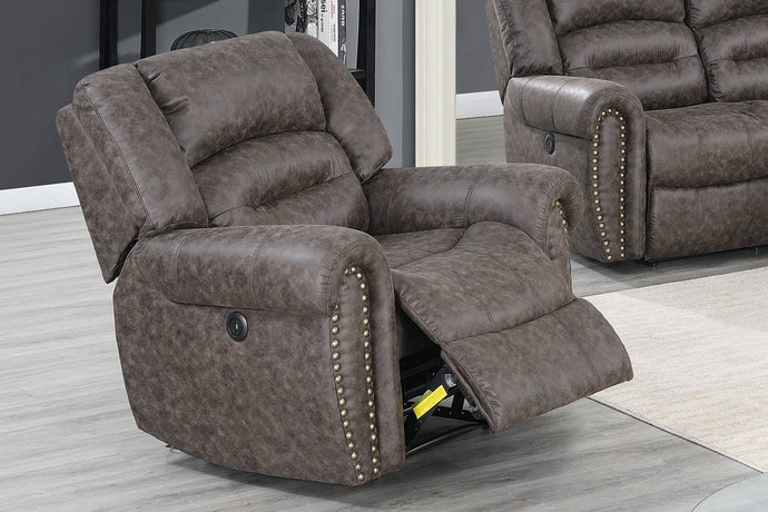 Poundex Taupe Bonded Leather Finish Recliner Chair