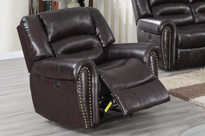 Poundex Black Bonded Leather Finish Recliner Sofa