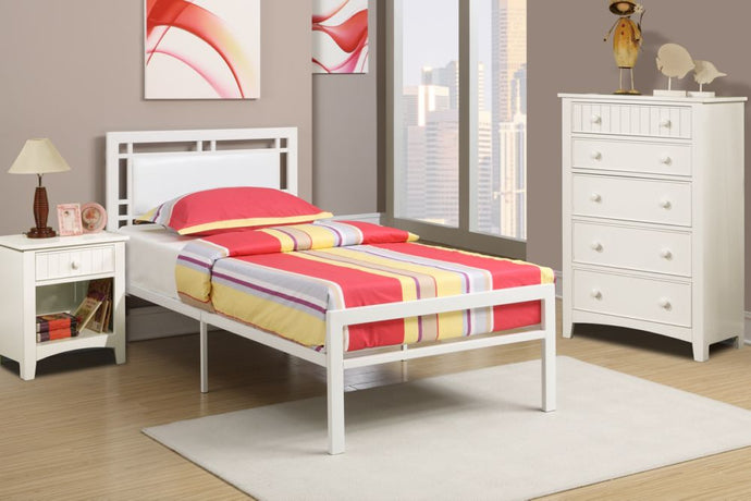 Poundex White Wood And Metal Finish 3 Piece Full Bedroom Set