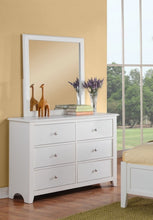 Load image into Gallery viewer, Poundex White Wood Drawer Finish Dresser Mirror Set
