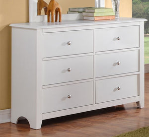 Poundex White Wood Drawer Finish Dresser Mirror Set