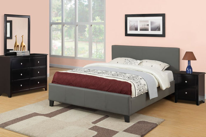 Poundex Gray Faux Leather And Wood Finish 4 Piece Queen Bedroom Set
