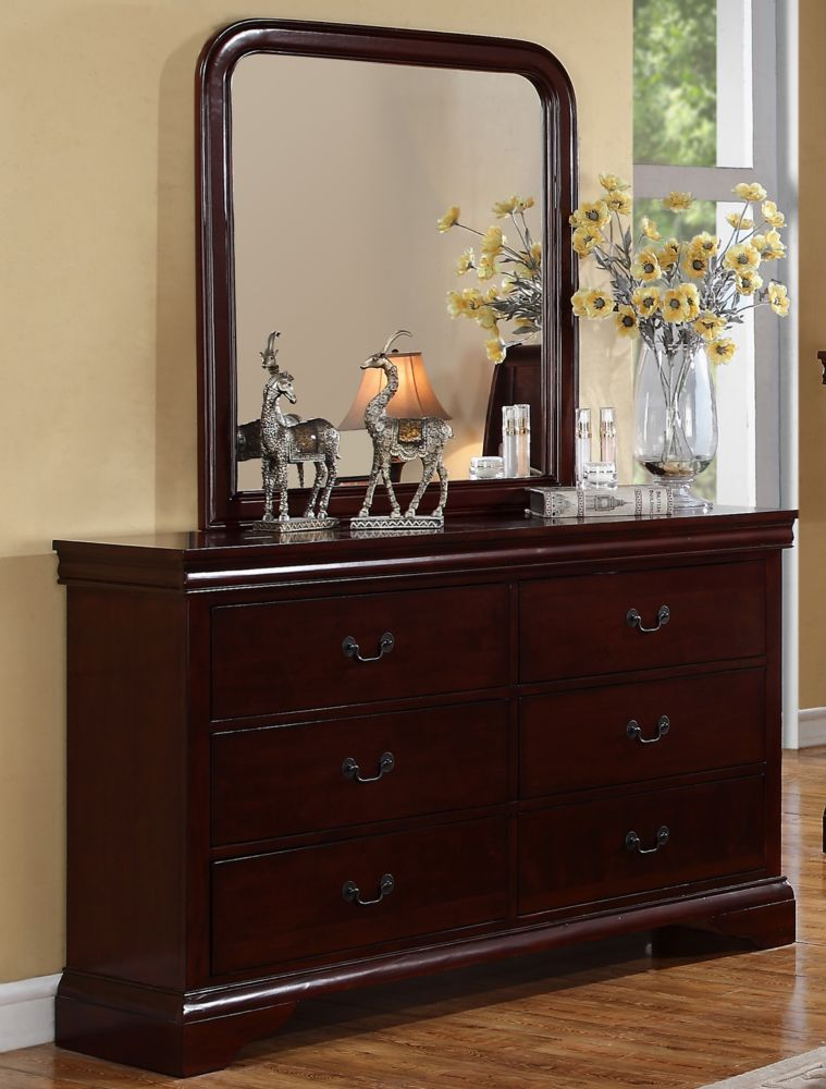 Poundex Cherry Drawer Finish Dresser And Mirror