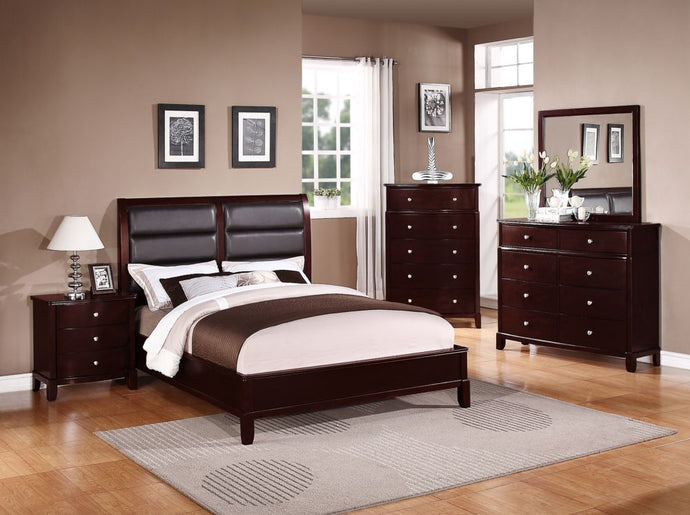 Poundex 4 Pieces Cherry Queen Bed Room Set
