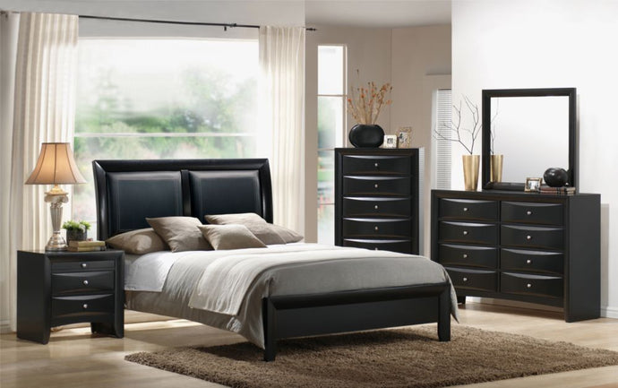Poundex 4 Pieces Black Faux Leather Queen Bed Room Set