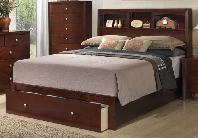 Poundex Cherry Bed Room Eastern King Bed With Storage