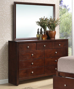 Poundex Cherry Drawer Dresser With Mirror