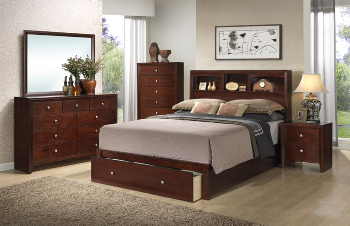 Poundex 4 Pieces Cherry Queen Bed With Storage Bed Room Set