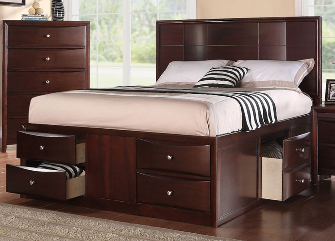 Poundex Espresso Bed Room Cal King Bed With Storage Drawers