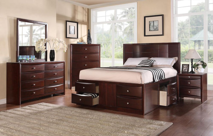 Poundex 4 Pieces Espresso Queen Bed With Storage Drawers Set