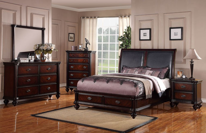 Poundex Dark Brown Wood Finish 4 Piece Eastern King Bedroom Set