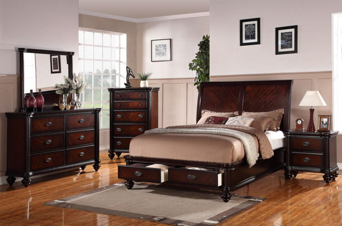 Poundex Cherry Wood Finish 4 Piece Eastern King Bedroom Set