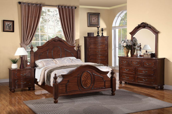 Poundex Brown Wood Finish 4 Piece Queen Bedroom Set