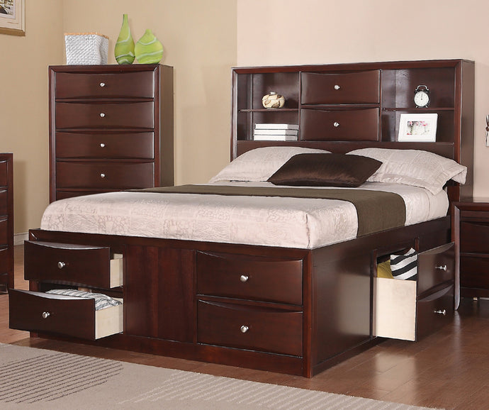 Poundex Espresso Cal King Bed With Storage Drawers