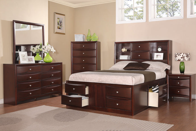Poundex Espresso Wood Finish 4 Piece Queen Bedroom Set