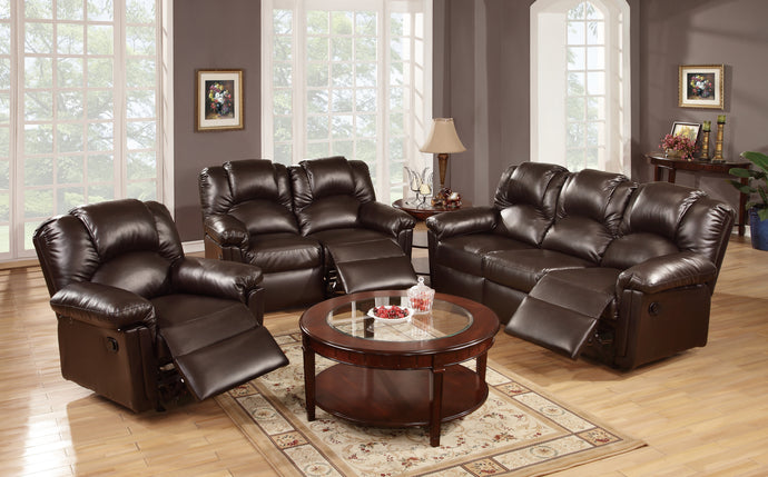 Poundex Espresso Bonded Leather Finish 3 Piece Recliner Sofa Set