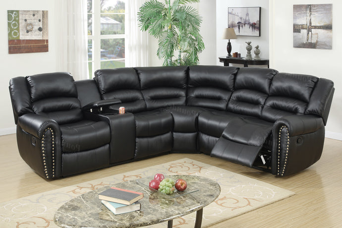 Poundex Black Bonded Leather Motion Recliner Sectional With Cup Holder