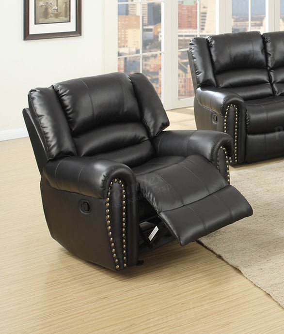Poundex Black Bonded Leather Glider Recliner