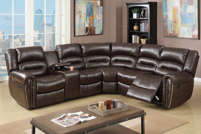 Poundex Brown Bonded Leather Motion Sectional Cup Holder