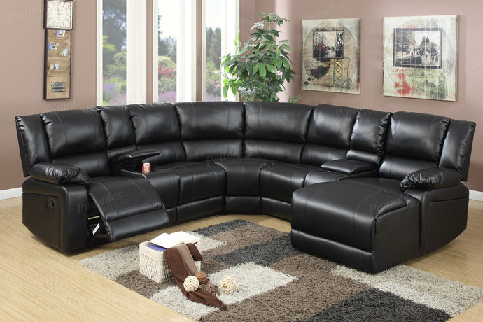 Poundex Black Bonded Leather Motion Recliner Sectional Sofa With Chaise