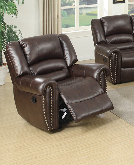 Poundex Brown Bonded Leather Glider Recliner